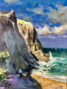 Adilov Alim: Óceánt figyelő kutya gazdájával (a011) 40 x 30 (olaj,vászon) 210€