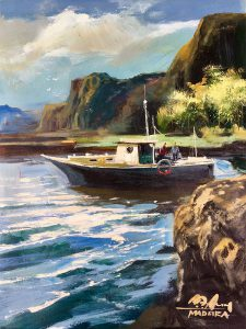 Adilov Alim: Készülődés kihajózásra (a014) 40 x 30 (olaj,vászon) 210€