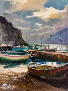 Adilov Alim: Ringatózó halászcsónakok (a015) 40 x 30 (olaj,vászon) 210€
