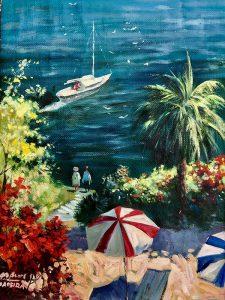 Adilov Alim: A piros napernyő (a016) 40 x 30 (olaj,vászon) 210€