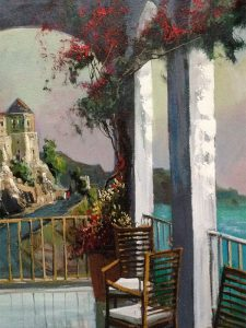Adilov Alim: Kilátás a teraszról (a019) 40 x 30 (olaj,vászon) 210€