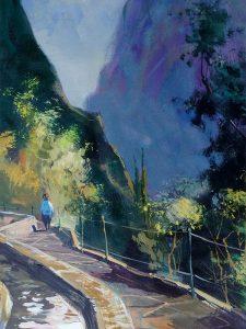 Adilov Alim: Séta a hegyek között (a025) 40 x 30 (olaj,vászon) 210€