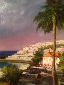 Adilov Alim: Kilátás a pálmafa mellől (028) 40 x 30 (olaj,vászon) 210€