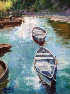 Adilov Alim: Csónakok napfényben (a037) 40 x 30 (olaj,vászon) 210€