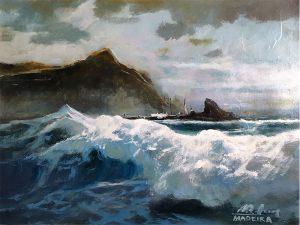 Adilov Alim: Habos hullámok Madeira partjainál (a041) 30 x 40 (olaj,vászon) 210€
