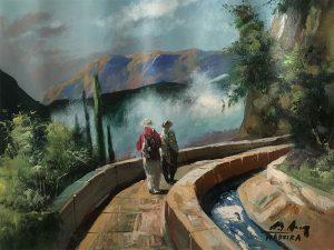 Adilov Alim: Levada-séta kettesben (a048) 30 x 40 (olaj,vászon) 210€