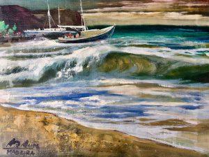 Adilov Alim: Felkorbácsolt óceán (a058) 30 x 40 (olaj,vászon) 210€