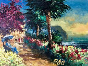 Adilov Alim: Flowery walkway (a060) 30 x 40 (oil,canvas) 210€