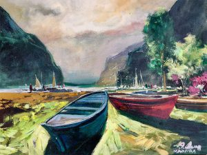 Adilov Alim: Old used boats in the bay (a061) 30 x 40 (oil,canvas) 210€