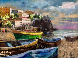 Adilov Alim: Kikötő a város mellett (a063) 30 x 40 (olaj,vászon) 210€