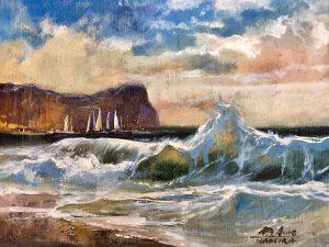 Adilov Alim: Tajtékzó hullámok (a064) 30 x 40 (olaj,vászon) 210€