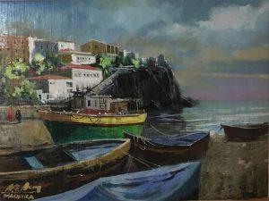 Adilov Alim: Halászhajók (a066) 30 x 40 (olaj,vászon) 210€