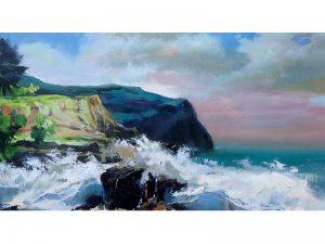 Adilov Alim: Áttörő hullámok (a075) 30 x 40 (olaj,vászon) 210€