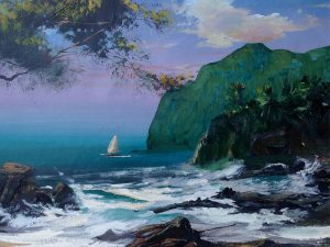 Adilov Alim: Sailing out of the bay (a078) 30 x 40 (oil,canvas) 210€