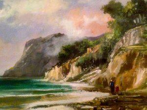 Adilov Alim: Felhős part (a082) 30 x 40 (olaj,vászon) 210€
