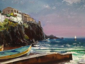 Adilov Alim: Sailboat in the bay of Camara de Lobos (a090) 30 x 40 (oil,canvas) 210€