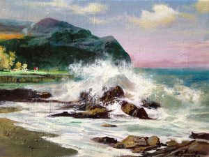 Adilov Alim: Rock beach (a094) 30 x 40 (oil,canvas) 210€