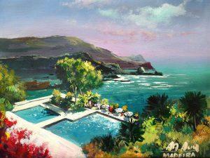 Adilov Alim: Úszómedence a parton (a096) 30 x 40 (olaj,vászon) 210€