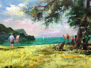 Adilov Alim: Festők Madeirán (a097) 30 x 40 (olaj,vászon) 210€
