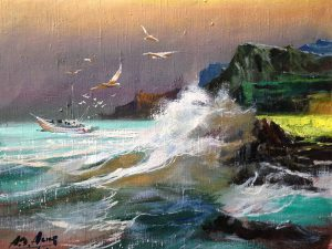 Adilov Alim: Accompanied by seagulls (a098) 30 x 40 (oil,canvas) 210€