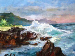 Adilov Alim: Tajtékzó óceán (a099) 30 x 40 (olaj,vászon) 210€