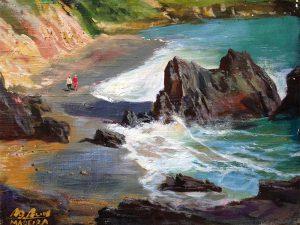 Adilov Alim: Kettesben a parton (a100) 30 x 40 (oil,canvas) 210€