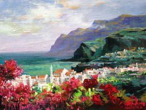 Adilov Alim: Város az óceán partján (a102) 30 x 40 (olaj,vászon) 210€