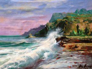 Adilov Alim: Hullámok a sziklás parton (a104) 30 x 40 (olaj,vászon) 210